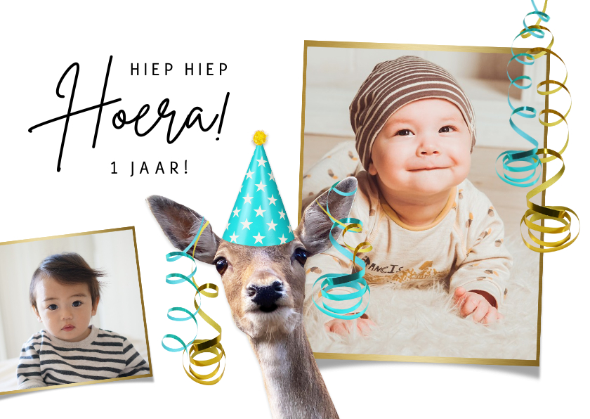 Verjaardagskaarten - Verjaardagskaart kind 1 jaar met hert en slingers