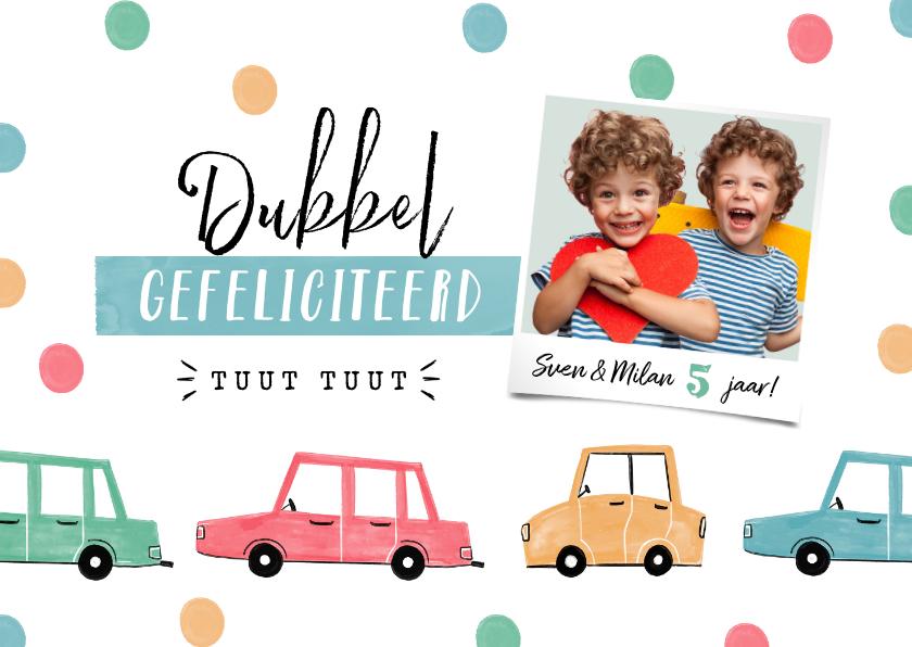 Verjaardagskaarten - Verjaardagskaart kind auto's confetti tweeling