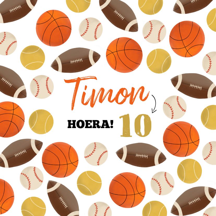 Verjaardagskaarten - Verjaardagskaart kind balsporten patroon basket rugby tennis