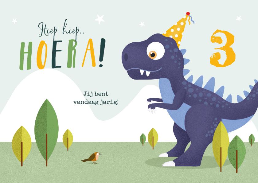 Verjaardagskaarten - Verjaardagskaart kind dino t-rex dinosaurus feestje