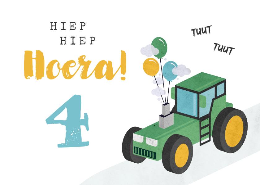 Verjaardagskaarten - Verjaardagskaart kind jongen tractor ballonnen
