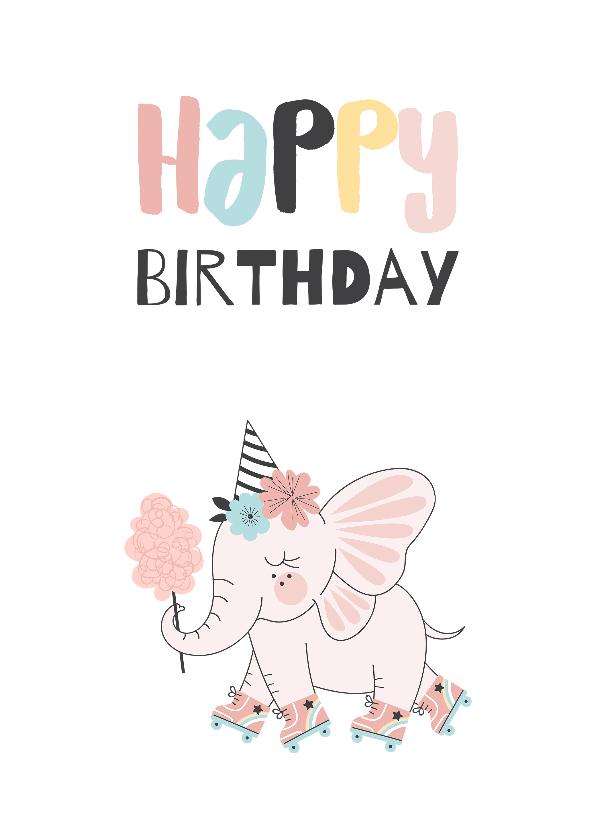 Verjaardagskaarten - Verjaardagskaart kind met schattige olifant