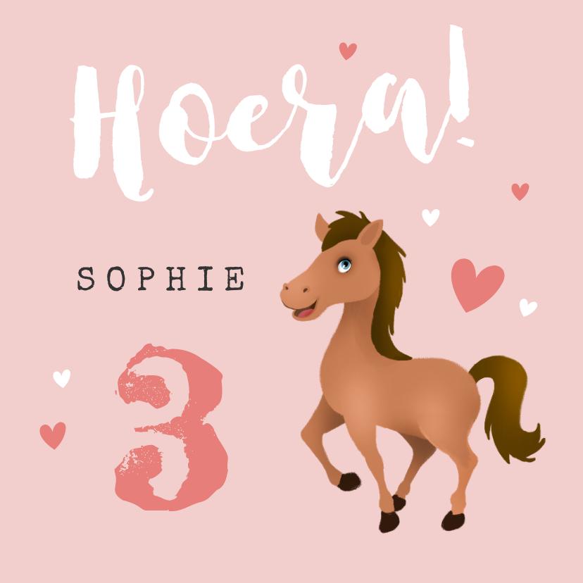 Verjaardagskaarten - Verjaardagskaart kind paard roze meisje hartjes