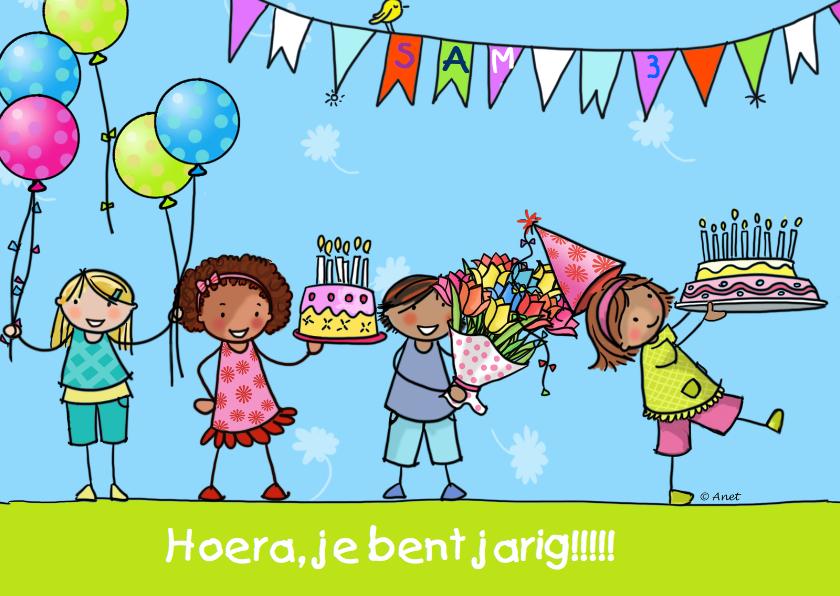 Verjaardagskaarten - Verjaardagskaart kinderen taart ballon
