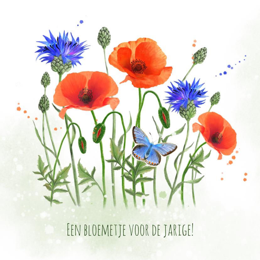 Verjaardagskaarten - Verjaardagskaart klaprozen korenbloemen vlinder