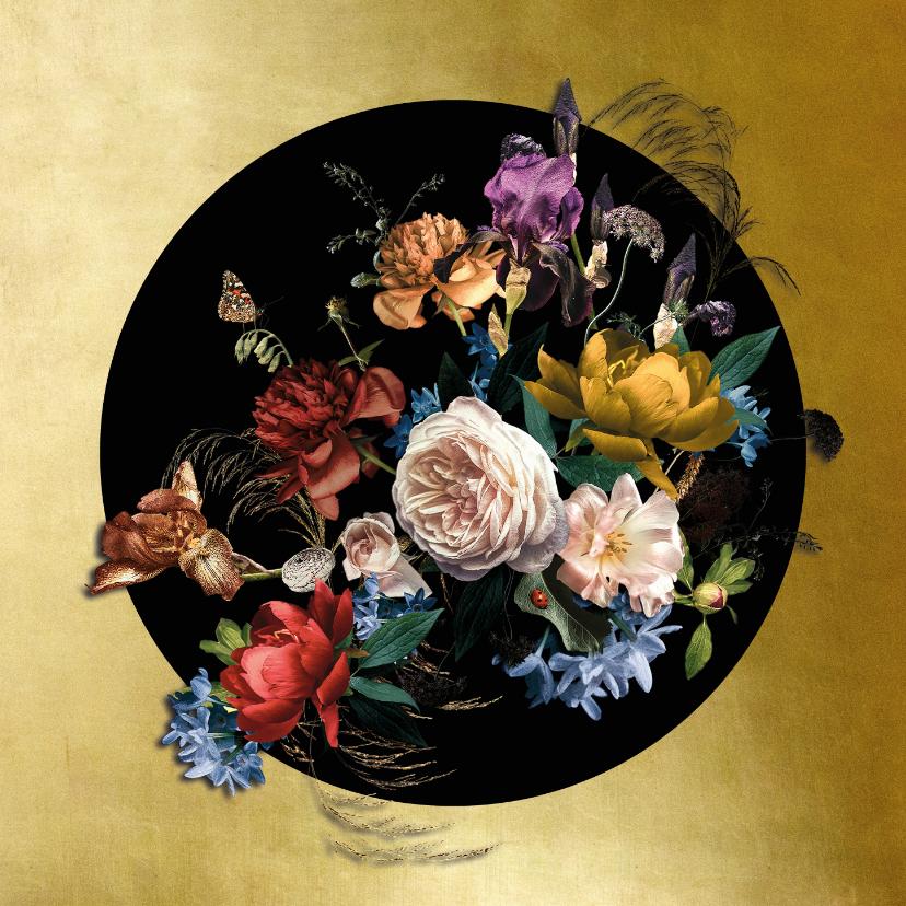 Verjaardagskaarten - Verjaardagskaart prachtig boeket bloemen goud