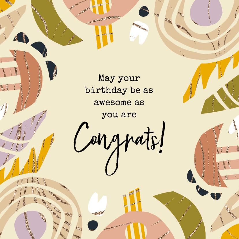 Verjaardagskaarten - Verjaardagskaart kleurrijke abstracte vormen