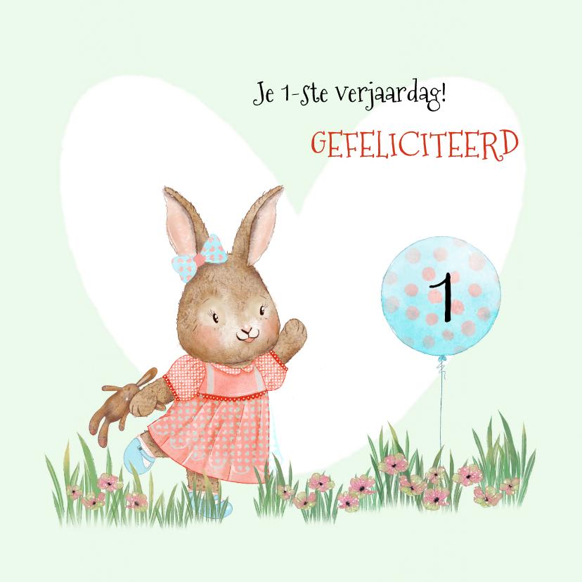 Verjaardagskaarten - Verjaardagskaart konijntje met ballon