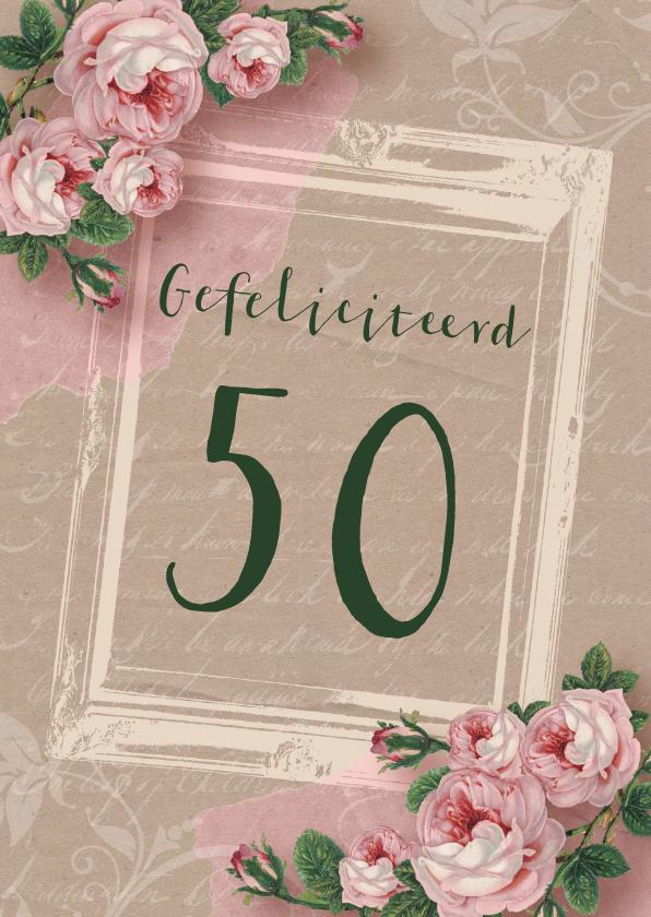Verjaardagskaarten - Verjaardagskaart kraftlook rozen