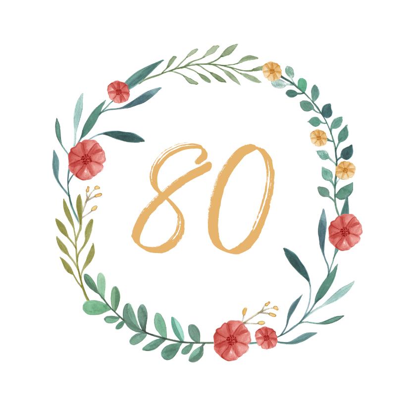 Verjaardagskaarten - Verjaardagskaart krans bloemen 80 stijlvol