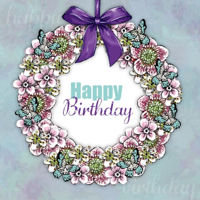 Verjaardagskaarten - Verjaardagskaart Krans - IH