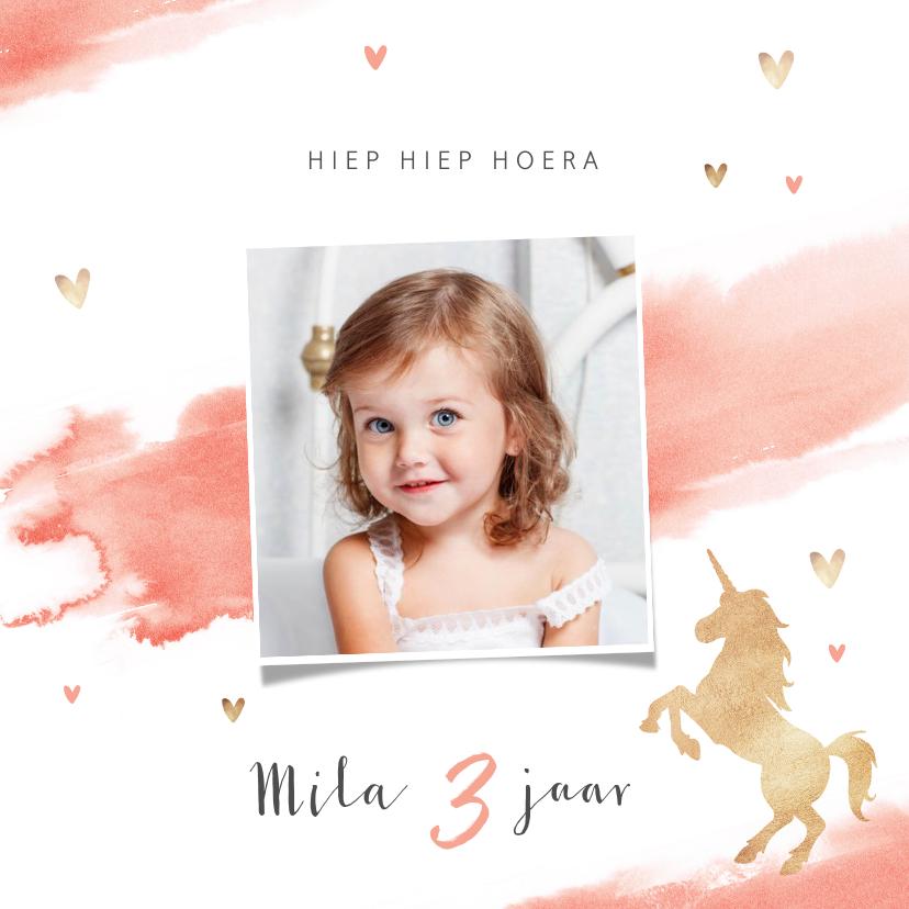 Verjaardagskaarten - Verjaardagskaart lief roze met hartjes en eenhoorn