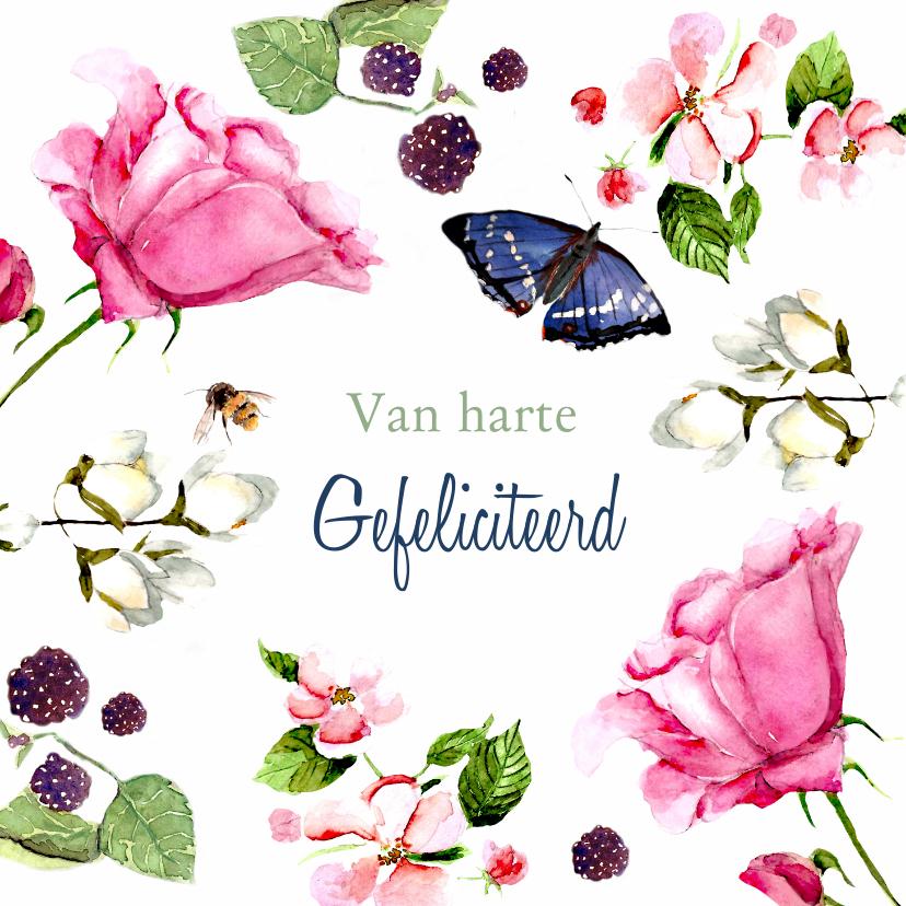 Verjaardagskaarten - Verjaardagskaart Lieve bloemen met vlinder