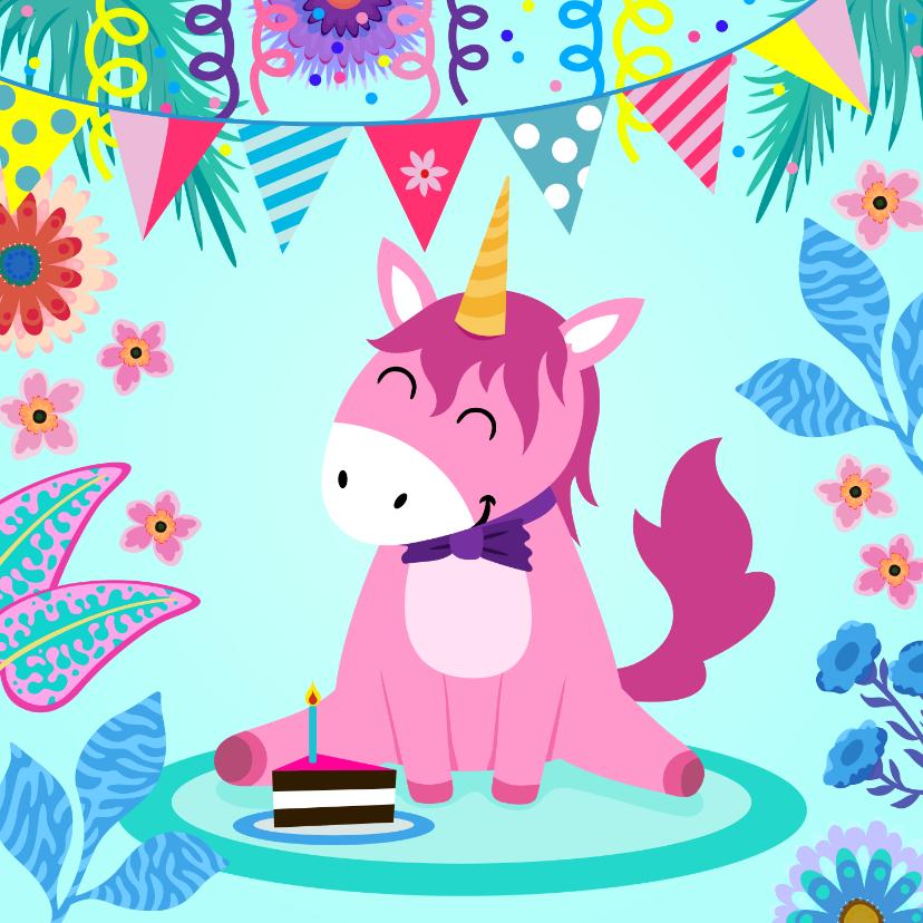 Verjaardagskaarten - Verjaardagskaart lieve unicorn met taartje