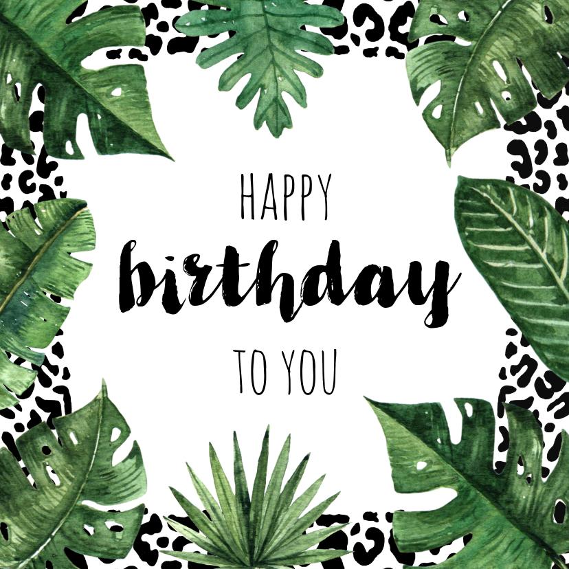 Verjaardagskaarten - Verjaardagskaart luipaard jungle