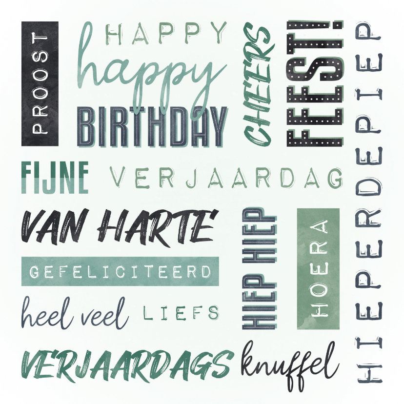 Verjaardagskaarten - Verjaardagskaart man handletter woorden