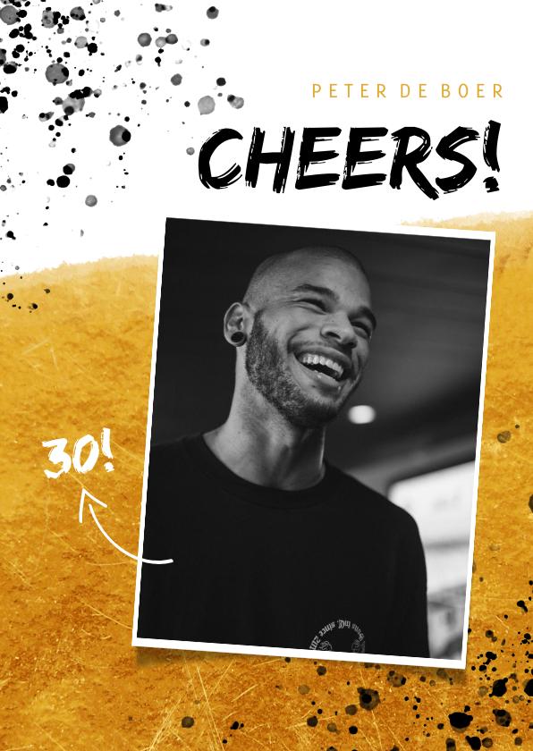 Verjaardagskaarten - Verjaardagskaart man met foto, goud, spetters en cheers