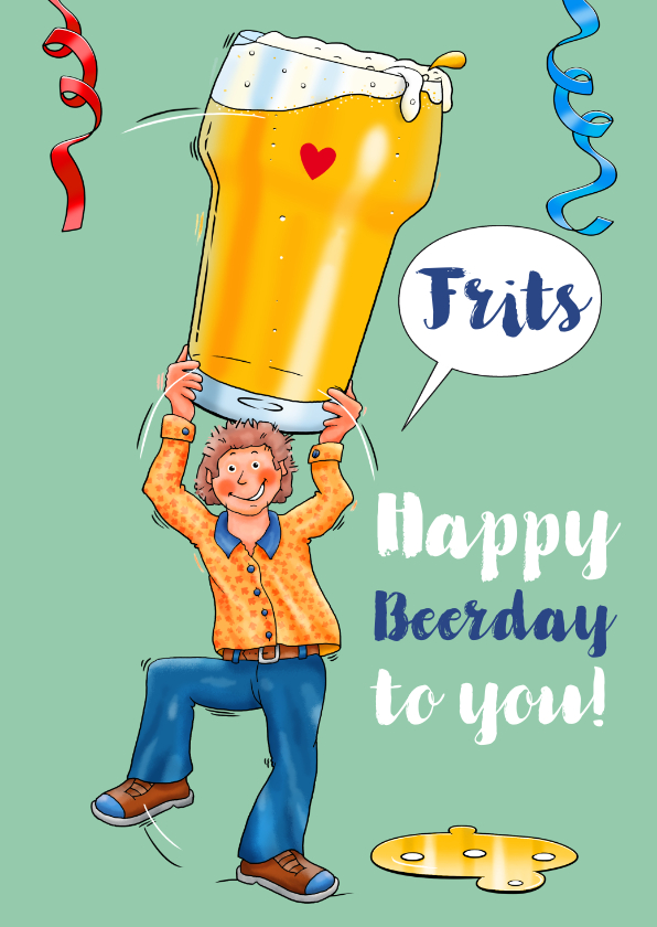 Verjaardagskaarten - Verjaardagskaart man met groot glas bier