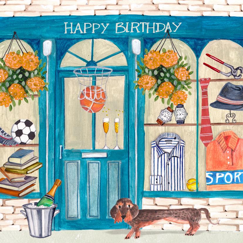 Verjaardagskaarten - Verjaardagskaart mannen winkel hond