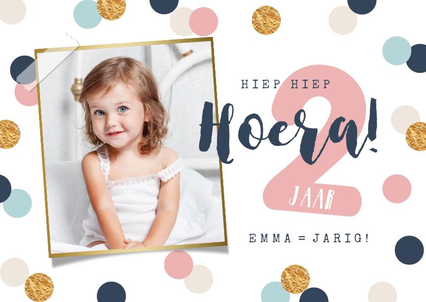 Verjaardagskaarten - verjaardagskaart meisje confetti goud vrolijk