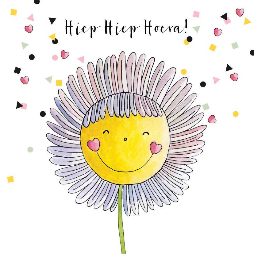 Verjaardagskaarten - Verjaardagskaart meisje illustratie  bloem  confetti