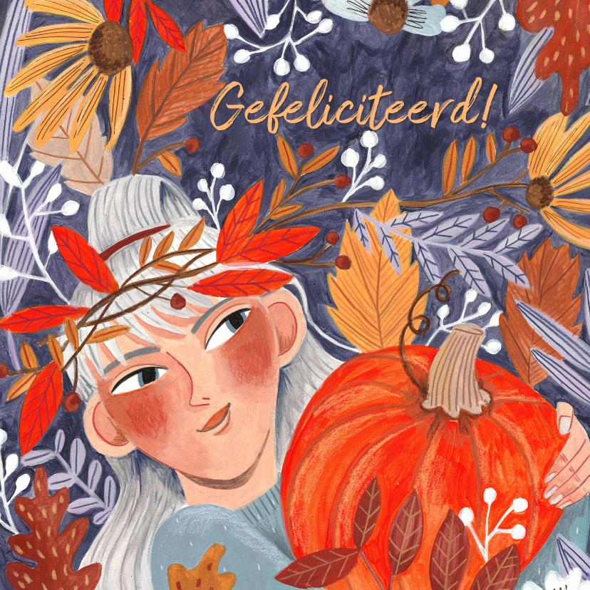 Verjaardagskaarten - Verjaardagskaart meisje herfstbladeren