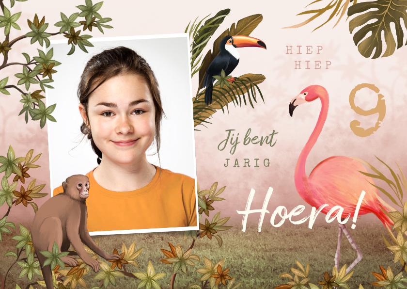 Verjaardagskaarten - Verjaardagskaart meisje jungle tropisch dieren
