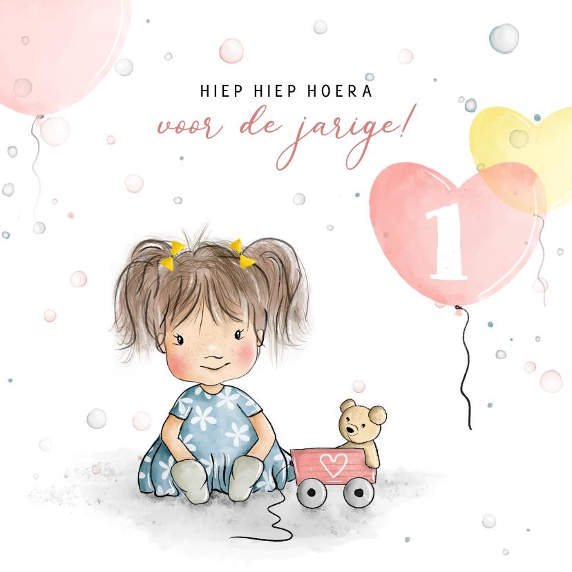 Verjaardagskaarten - Verjaardagskaart meisje met beertje en ballonnen