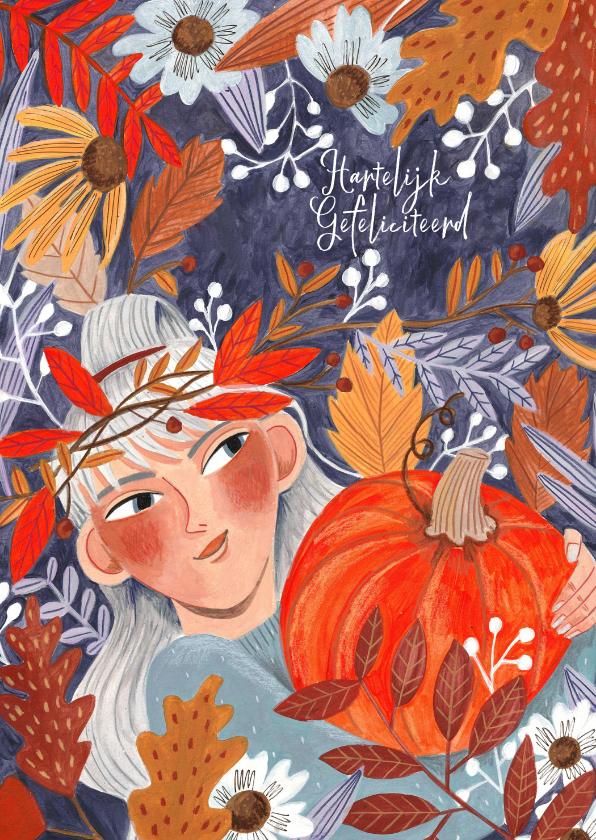 Verjaardagskaarten - Verjaardagskaart meisje met pompoen in herfstbladeren