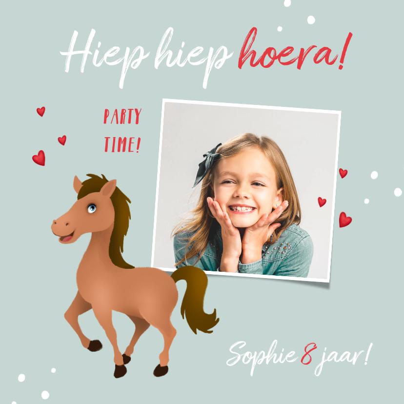 Verjaardagskaarten - Verjaardagskaart meisje paard hartjes