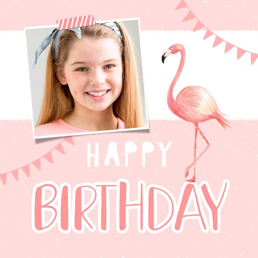 Verjaardagskaarten - Verjaardagskaart meisje roze foto flamingo slingers