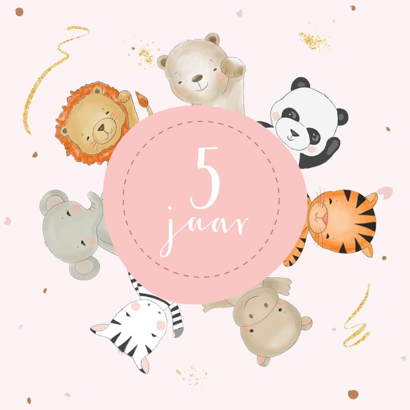 Verjaardagskaarten - Verjaardagskaart meisje safari dieren in roze