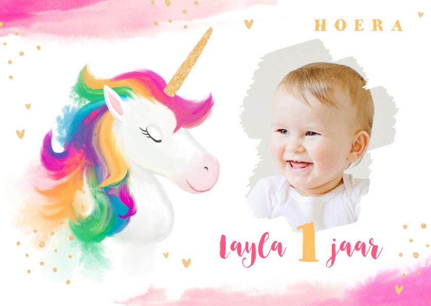 Verjaardagskaarten - Verjaardagskaart meisje waterverf unicorn goud