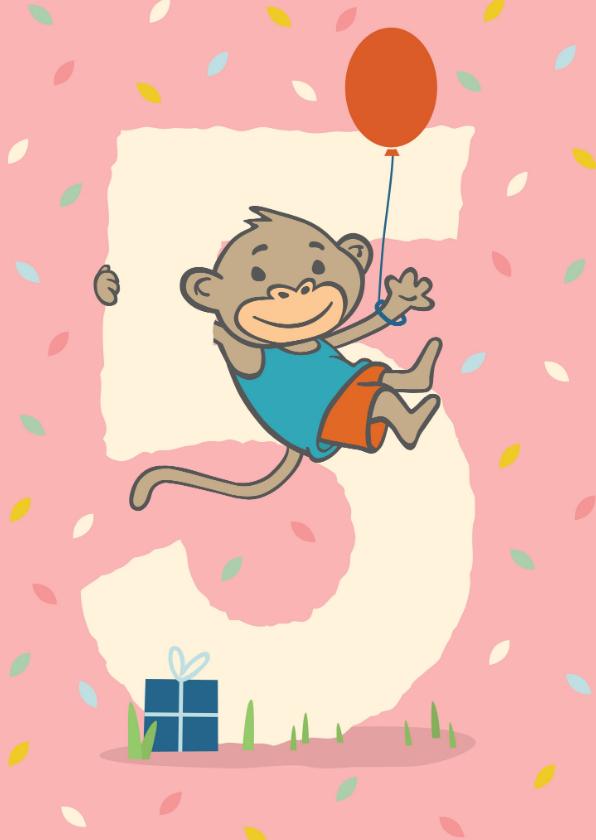 Verjaardagskaarten - Verjaardagskaart met aapje - 5 jaar