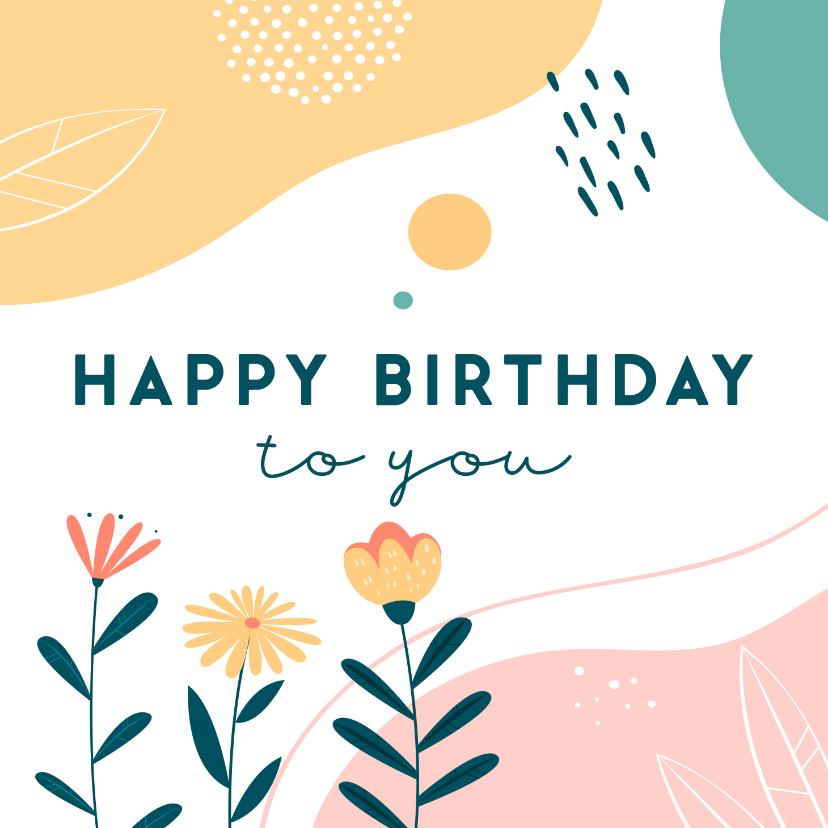 Verjaardagskaarten - Verjaardagskaart met abstracte elementen