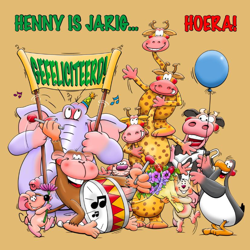 Verjaardagskaarten - Verjaardagskaart met allemaal leuke juichende dieren