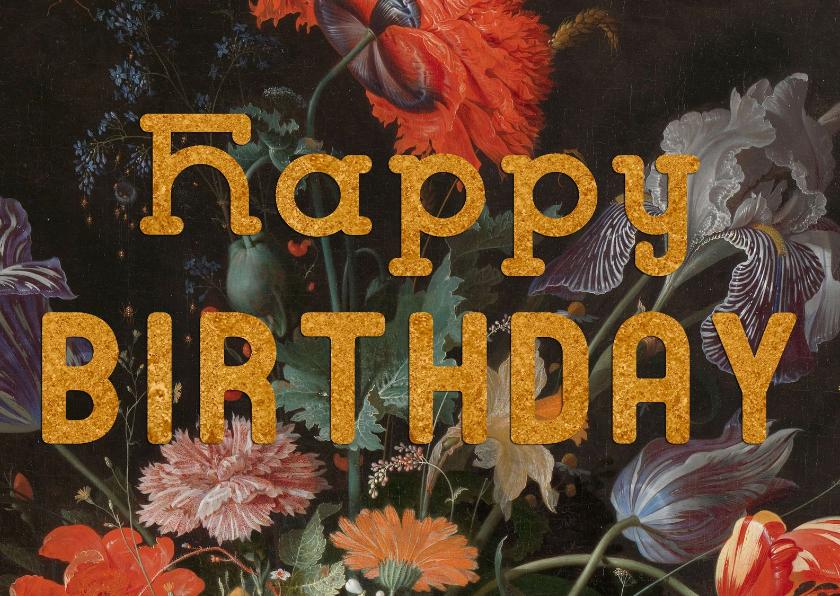 Verjaardagskaarten - Verjaardagskaart met antiek bloemenschilderij