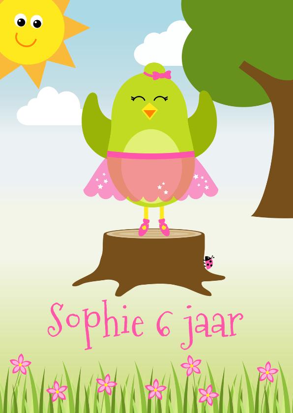 Verjaardagskaarten - Verjaardagskaart met ballerina vogeltje in het bos