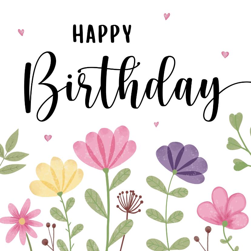 Verjaardagskaarten - Verjaardagskaart met bloemen en hartjes