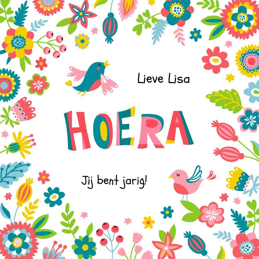 Verjaardagskaarten - Verjaardagskaart met bloemen en vogels