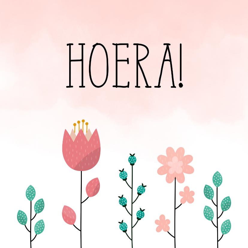 Verjaardagskaarten - Verjaardagskaart met bloemen en waterverf