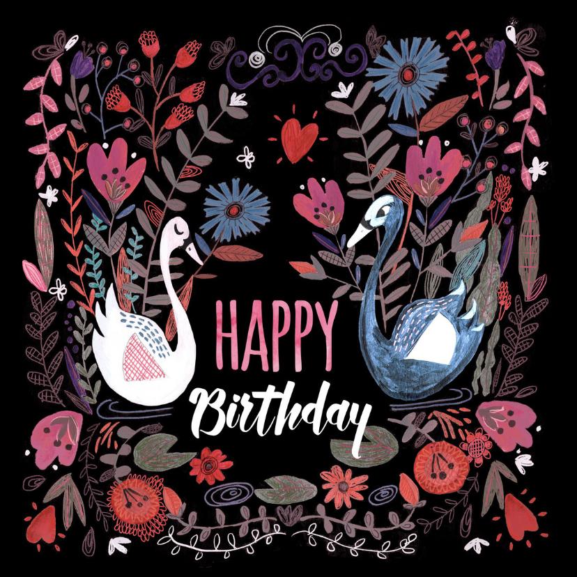 Verjaardagskaarten - Verjaardagskaart met bloemen en zwanen