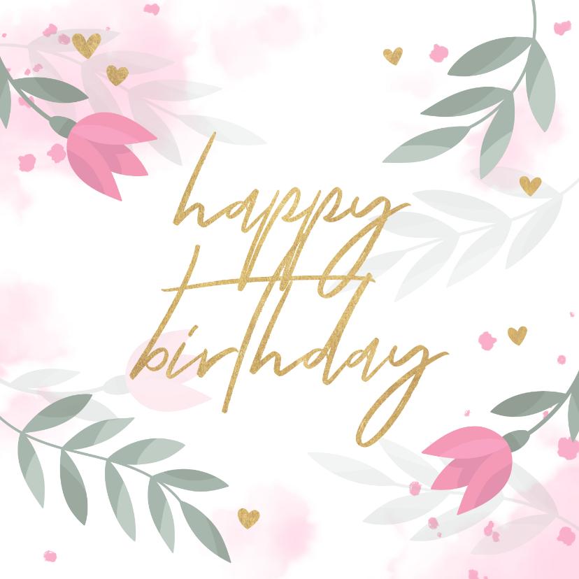 Verjaardagskaarten - Verjaardagskaart met bloemen, takjes, hartjes en waterverf