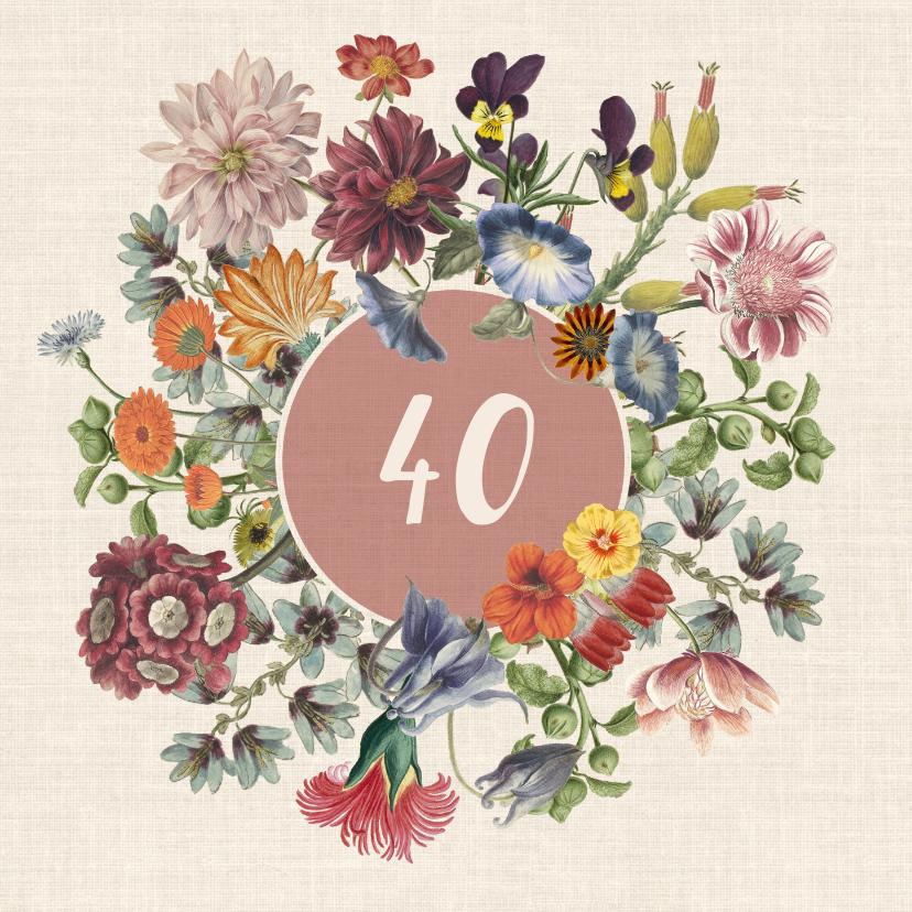 Verjaardagskaarten - Verjaardagskaart met bloemenkrans