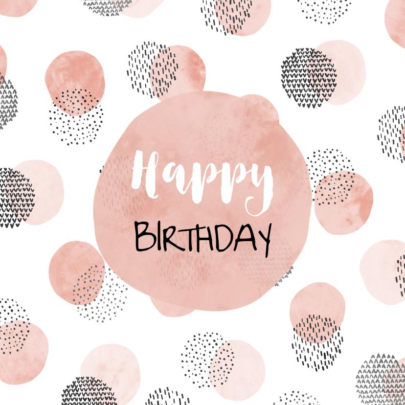 Verjaardagskaarten - Verjaardagskaart met cirkelpatroon vierkant