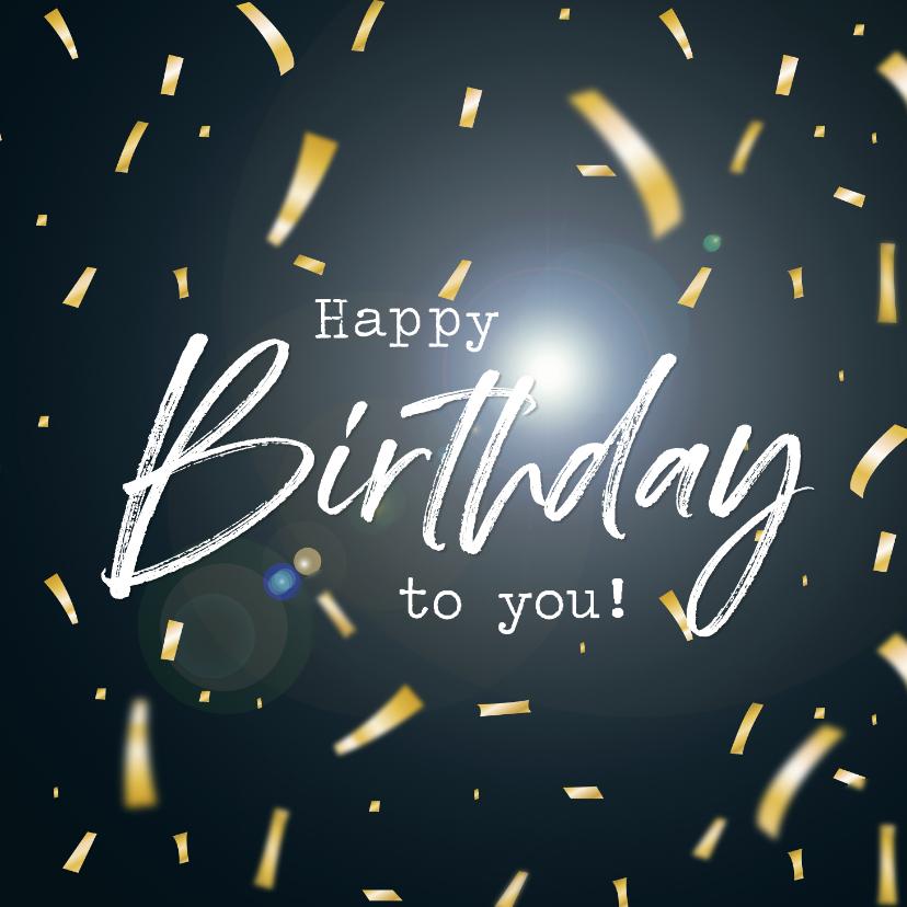Verjaardagskaarten - Verjaardagskaart met confetti Happy Birthday