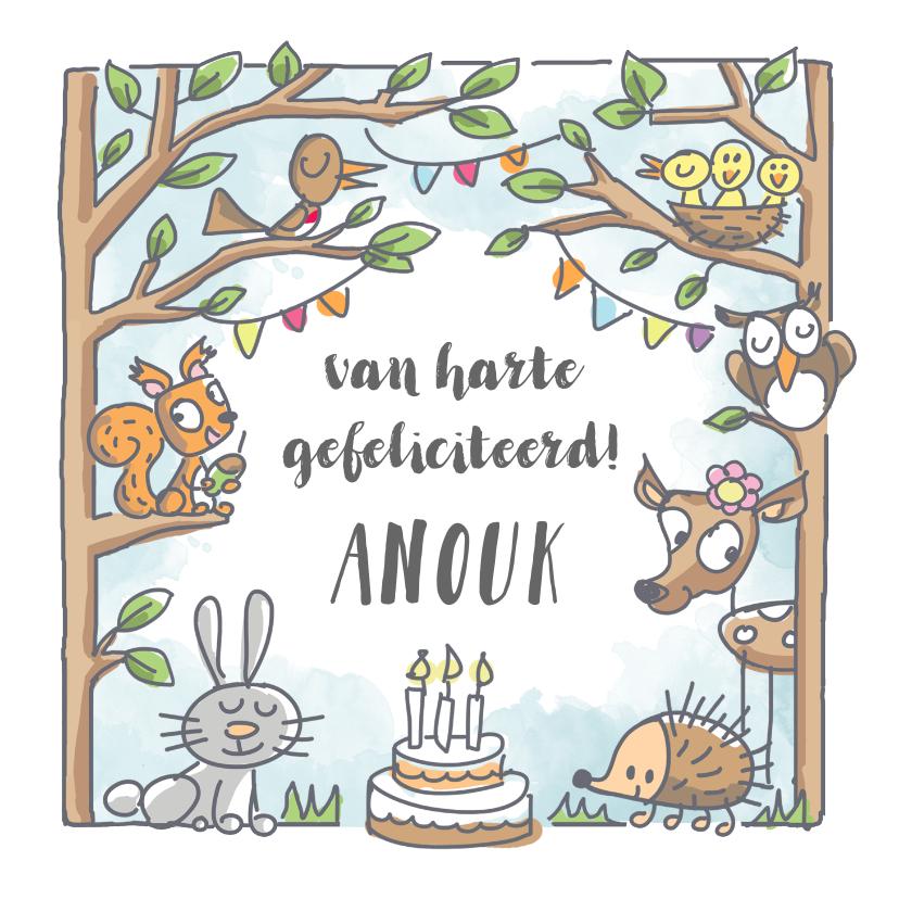 Verjaardagskaarten - Verjaardagskaart met dieren in het bos met taart en slingers