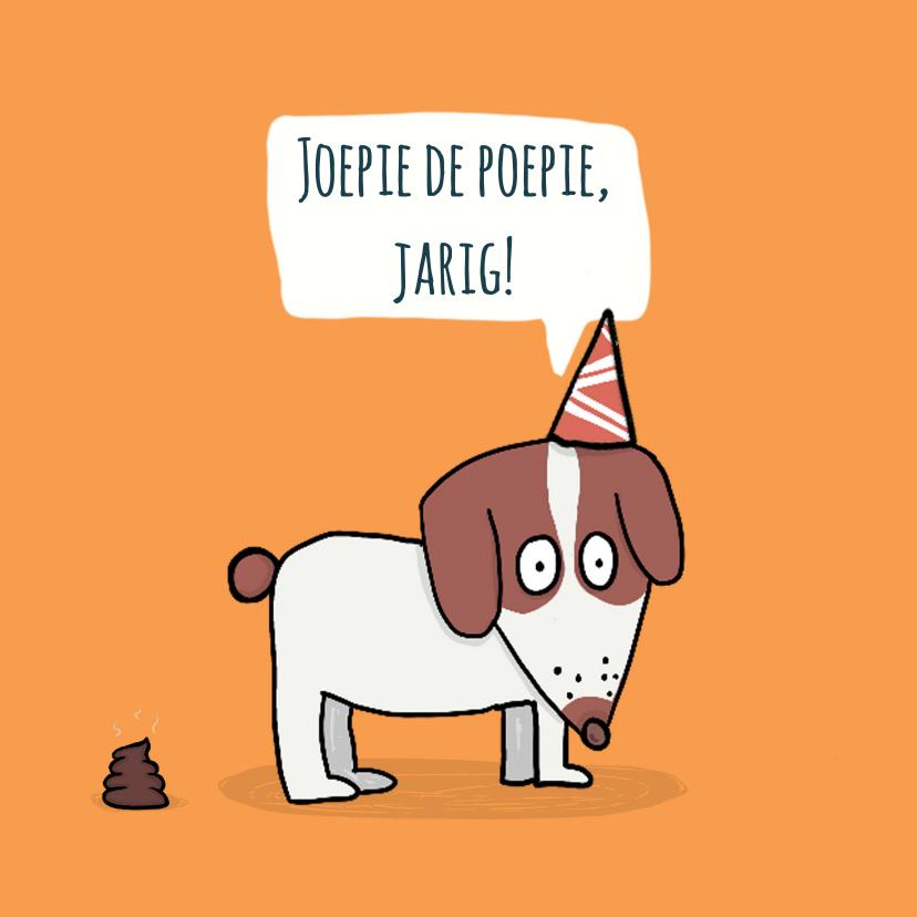 Verjaardagskaarten - Verjaardagskaart met een drolletje van een puppie...