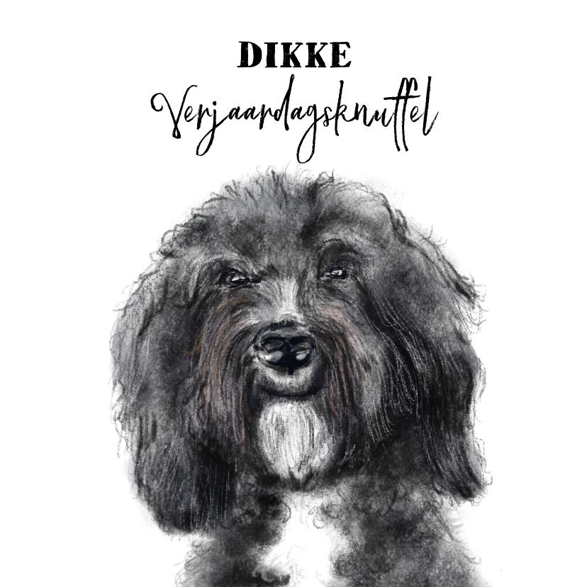 Verjaardagskaarten - Verjaardagskaart met een tekening van een hond