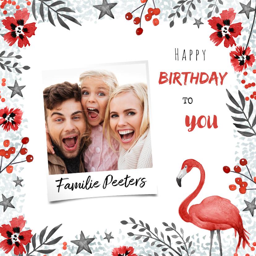 Verjaardagskaarten - Verjaardagskaart met flamingo bloemen en foto
